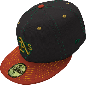 A's on an Orange & Black Cap