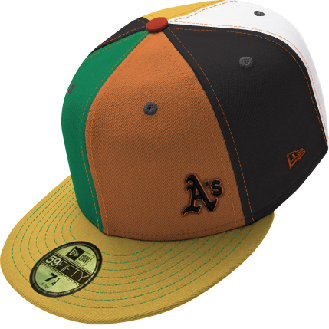 Small A's logo on a multicolored cap