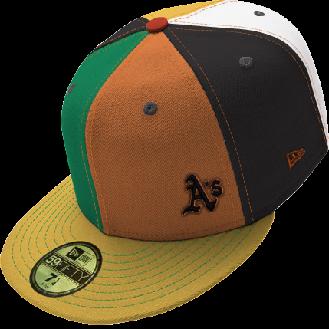 Small A's logo on a multicolored cap